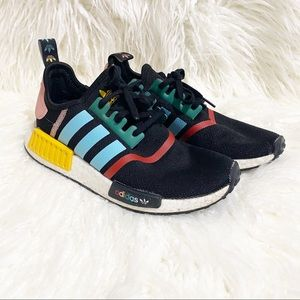 Adidas NMD R1 black with multicolored sneakers